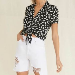 Forever21 print crop shirt